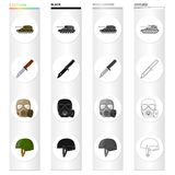 Self-propelled gun, combat knife, military gas mask, army helmet. Military and army set collection icons in cartoon. Black monochrome outline style vector Stock Photo