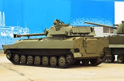 Self-propelled gun. 122 mm self-propelled howitzer on crawler tracks with rotating turret Stock Photos