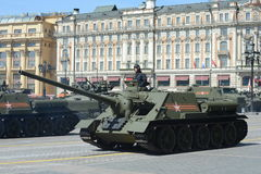 Self-propelled gun SU-100 during a rehearsal of the parade dedicated to the 70th anniversary of the Victory in the great Patriotic Stock Image