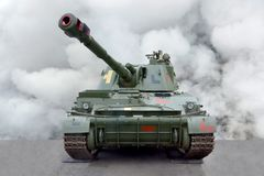 Military equipment Self-propelled crawler howitzer Front view stock photo