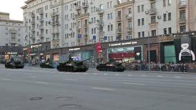 Self-propelled guns SU-100 stock footage