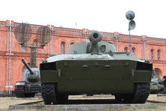 Self-propelled guns on the territory of museum in cloudy weather stock photos