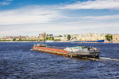 Self-propelled scow Nevsky-39 is on the Neva River in downtown of St. Petersburg Royalty Free Stock Photos