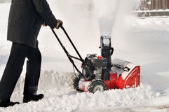 The self-propelled snow-plough. Royalty Free Stock Images