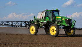 Self-propelled sprayer with the navigator_6. Chortkiv - Ternopil - Ukraine - April 5, 2017. In the agricultural enterprise `Bell` self-propelled sprayer with GPS Stock Photography