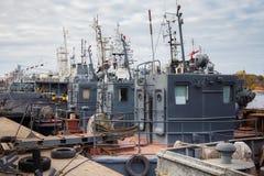 Self-propelled steel diesel oil skimmer vessels. royalty free stock photography