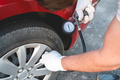 Self Pumping car tires Stock Photography