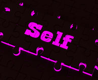 Self Puzzle Shows Believe Me My Yourself Or Myself Royalty Free Stock Image