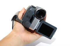 Self record. Record a camcorder by yourself royalty free stock photo