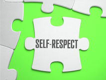 Self-Respect - Jigsaw Puzzle with Missing Pieces. Bright Green Background. Close-up. 3d Illustration Stock Images
