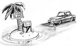 Self Serve. Cartoon about self serve gas station Stock Image