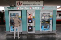 SELF SERVICE BAR AND AUTOMAT IN ITALY Royalty Free Stock Photography