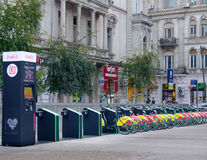 Self service bike rentals in Bucharest, Romania. Stock Photo