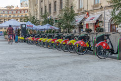 Self service bike rentals in Bucharest, Romania. Royalty Free Stock Photos