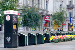 Self Service Bike Rentals in Bucharest, Romania. Royalty Free Stock Photography