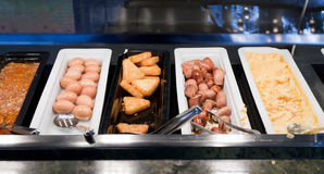 Self-service buffet with hot breakfast Stock Photos