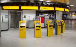 Self-service check-in machines in modern airport Royalty Free Stock Image