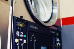 Self service drying machine close-up stock photo