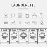 Self-service laundry icons. Self-service laundry. Vector signs for web graphics vector illustration