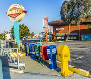 Self service Newspaper boxes in Los Angeles Stock Image