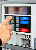 Self Service Pay Terminal. Pay point terminal showing numeric keypad and yes, no, cancel buttons stock photos