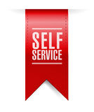 Self service red hanging banner illustration Royalty Free Stock Image