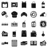 Self-service shop icons set, simple style Stock Photos