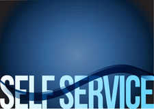 Self service sign wave blue illustration Stock Image