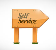 Self service wood sign illustration design Royalty Free Stock Images