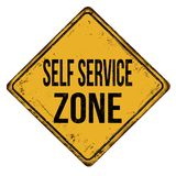 Self service zone vintage rusty metal sign Royalty Free Stock Photo