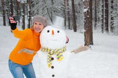 Self with snowman Stock Photography