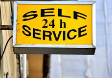 Self sservice 24 h sign Stock Image