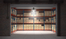 Self storage unit full of cardboard boxes. 3d rendering. Open self storage unit full of cardboard boxes. 3d rendering Stock Photography