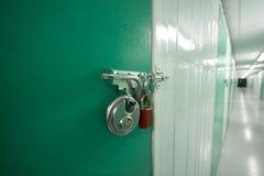 Storage padlocks. Self storage unit locked with two padlock Stock Photos