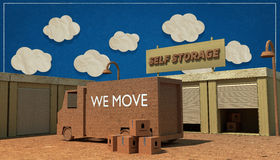 Self storage. Units made with cardboard boxes Royalty Free Stock Images