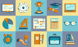 Self study and education themed icons set. Stock Photo