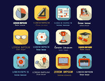 Self study and education themed icons set. Royalty Free Stock Images