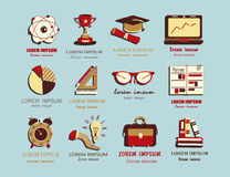 Self study and education themed icons set. Royalty Free Stock Image