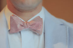 Self Tied Pink Bowtie On Man Royalty Free Stock Photos