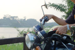 Self-travel by Riding a motorcycle Stock Photography