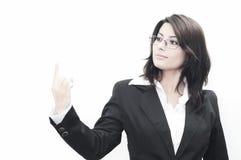 Selfconfident Geschäftsfrauin verbindung stehen Stockbild