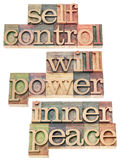 Selfcontrol, willpower, inner peace. A collage of isolated words in vintage letterpress wood type prinitng blocks Stock Photos