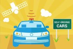 Selfdriving bil med navigeringavkännare- och satellitvektorn vektor illustrationer
