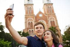 Selfe in city Royalty Free Stock Images