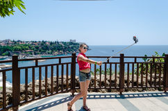 Selfi sur le fond Porat Antalya Photo stock