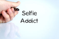 Selfie上瘾者文本概念 免版税库存照片