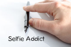 Selfie上瘾者文本概念 免版税图库摄影
