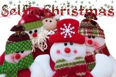 Selfie圣诞节 圣诞老人和朋友 滑稽的构成 库存照片