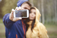 Selfie在雨天 库存照片