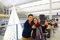 Selfie在香港国际机场 免版税库存照片
